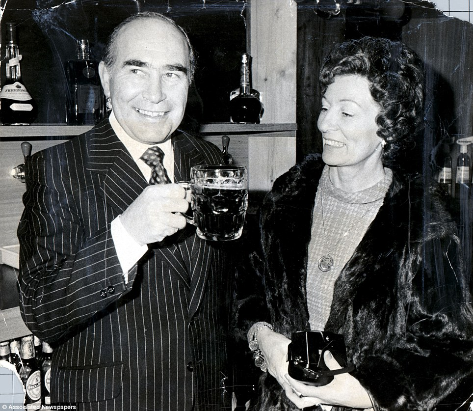 Sir Alf Ramsey and wife Lady Ramsey at a pub in Kent in 1979 at the opening of the pub which was named after him