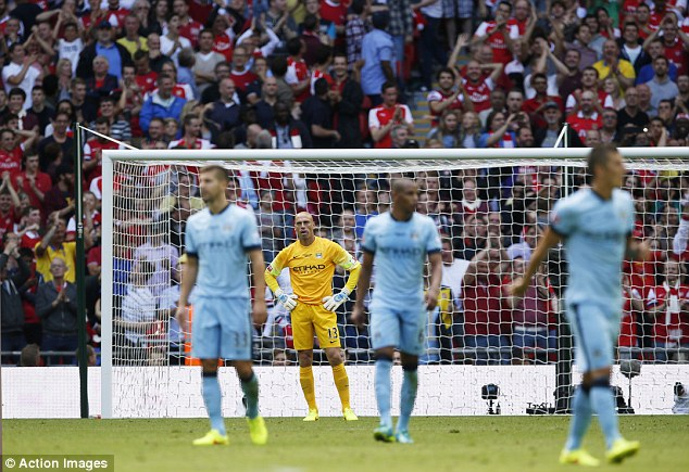 Awful: City were completely outplayed by Arsenal at Wembley in the Community Shield on Sunday