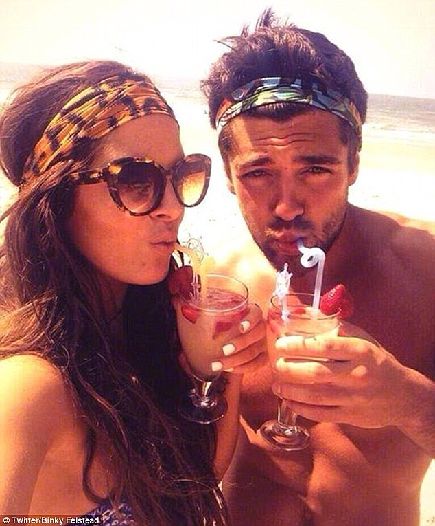 It's over: Binky and Alex Mytton, pictured in happier times enjoying some cocktails on the beach during a romantic holiday together, have finally called it a day - and the Felstead family couldn't be happier
