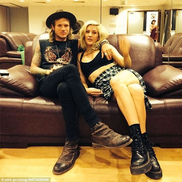 Time out: Ellie posted this snap of herself and boyfriend Dougie Poynter backstage on Instagram prior to her set