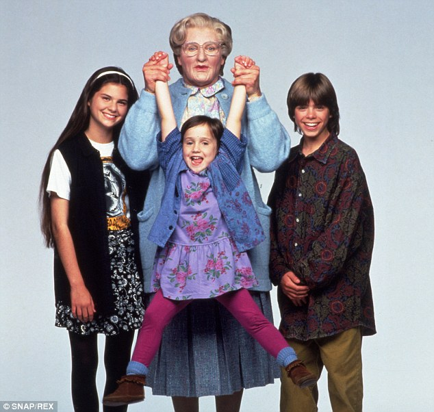 Close: Mara played Robin's on-screen daughter in 1993's Mrs. Doubtfire. They are pictured centre with Lisa Jakub (L) and Matthew Lawrence (R)