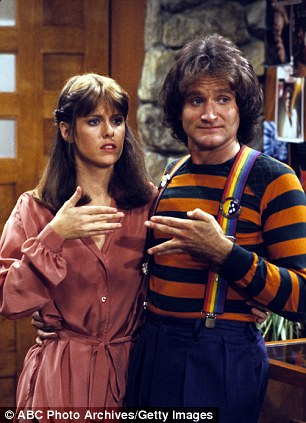 Big break to top of his profession: Robin Williams and Mindy McConnell in Mork and Mindy which ran from 1978 to 1982 and launched the comedian to national prominence before his Oscar win for Good Will Hunting in 1997 (right)