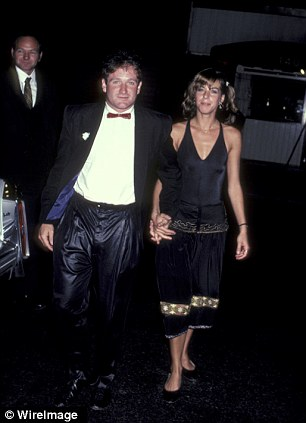 First wife: Robin Williams with his first wife Valerie Velardi, who was married to the comic from 1978 to 1988 and (right) his second wife, Marsha Garces, who was married to the Oscar winner from 1989 to 2010