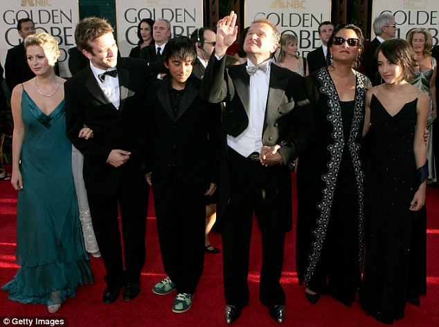 Family: Actor Robin Williams and with then wife Marsha Garces Williams, sons Cody, Zachary with girlfriend Alex, daughter Zelda arrive at the 62nd Annual Golden Globe Awards in 2005
