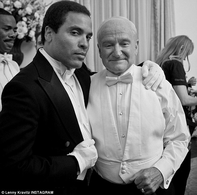 Grief: Robin Williams on the set of The Butler in 2013, tweeted by Lenny Kravitz who wrote: 'Robin Williams, it was an honor to know you. #restinpeace'