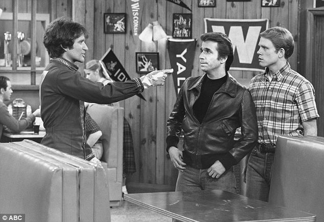 Little known start: While Mork & Mindy first brought the zany alien character fame, Williams had previously debuted the character in an episode of Happy Days