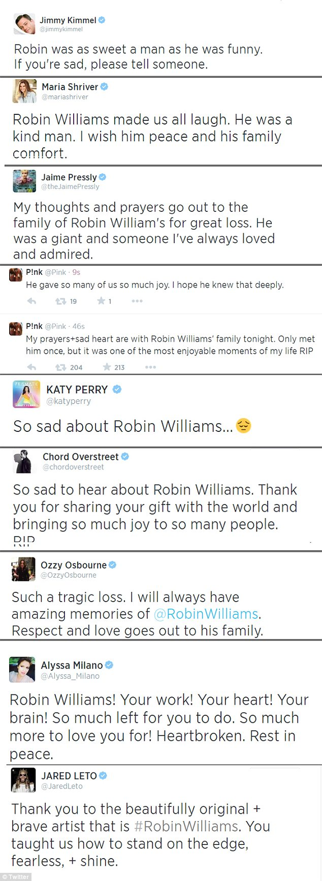 Rest in peace: Stars gushed about Robin's talent and lamented losing him too soon