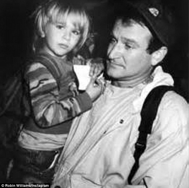 Loving father: The celebrated actor posted a similar flashback photo of himself with his son Zachary for his birthday in April