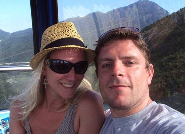 'Terrifying': Vicky Keen, pictured with her husband Joel, was on board the London-bound Virgin Atlantic flight forced to return to Hong Kong