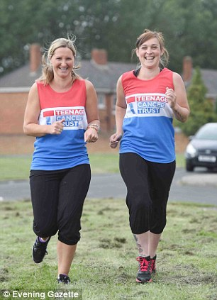 The 27-year-old stunned doctors making a 'miracle recovery' and is now preparing to tackle the Great North Run, with her friend Sam Smith, left, to raise money for The Teenage Cancer Trust