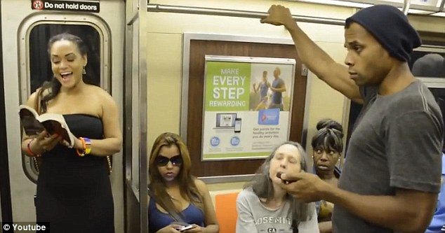 Surprise: New York subway commuters got more than a one-way ride for their $2.50 as the cast of the Lion King gatecrashed a carriage and put on an impromptu performance