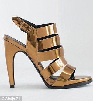 New heights: Though the shoes features flat shoes, there are some stilettos in leather (left) and metallic (right) in the line
