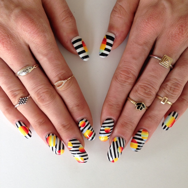 Optical illusion: This Nails By Mei manicure combines monochrome simplicity with vibrant rainbows