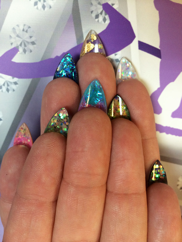 Peekaboo embellishments: There's also a growing trend for having the underside of your nails blinged out. (Pictured: A glittery 'flip-side mani' design by nail artist Naja Rickette)
