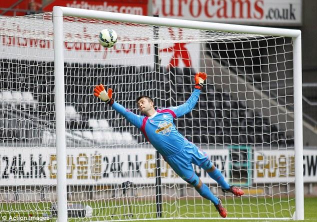 No chance:Lukasz Fabianski is left helpless as Villarreal score in a pre-season friendly