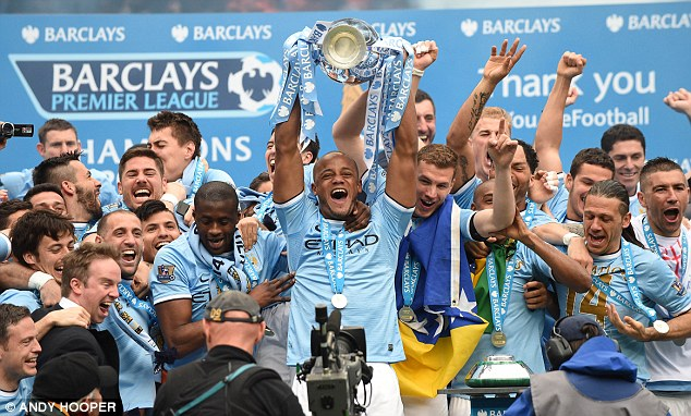 Glory days: Manchester City could be celebrating another title win at the end of the 2014/15 season