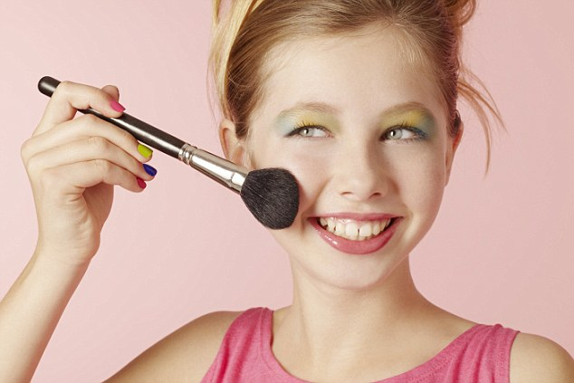 Beauty obsessed:A new study has found that over half of 12-14 year olds wear make-up most days and 17 per cent refuse to leave the house without make-up on