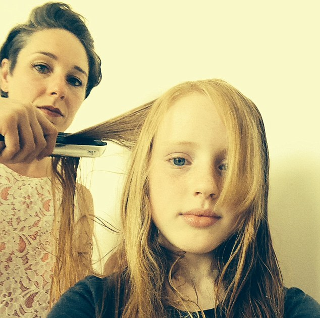 """Alex Butler regularly uses hair straighteners on her children including Magda (pictured). The mum-of-three finds the kids prefer the tongs as they see it as a treat. She said: """"It's a nice change because they aren't allowed to have their hair straightened usually."""""""