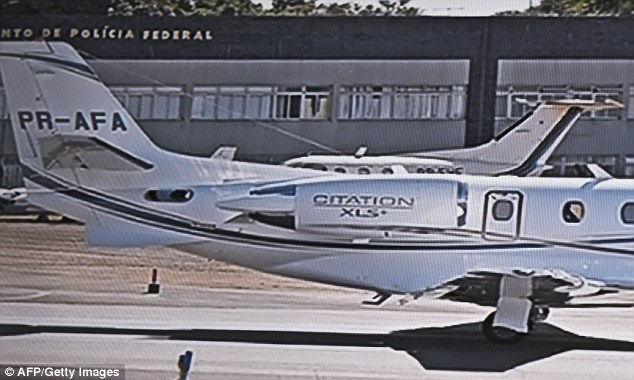 The Cessna 560XL plane (pictured here before take-off) had taken off from Rio de Janeiro's domestic airport