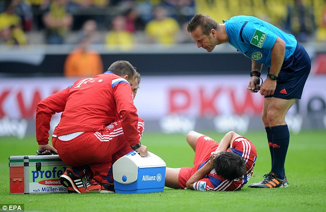 Checks: Martinez will face scans on Thursday morning to discover the extent of his injury