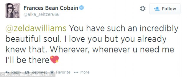 Here to help: Kurt Cobain's daughter, 21, sent some kind words to Zelda, 25, over Twitter on Tuesday