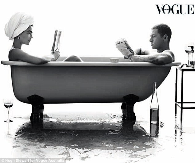 Bambi Northwood-Blyth and husband Dan Single stripped down and slipped into a bath for a glamorous photo shoot for Vogue Australia's September issue