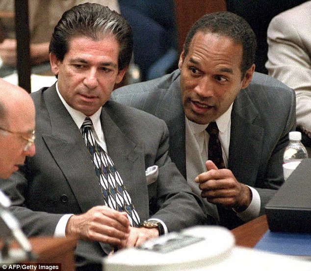 Her father was his friend: Kim's father Robert Kardashian (left in 1995) defended the former NFL star (right) when he was on trial for the murder of his wife Nicole Brown Simpson, who was close friends with Kris Jenner