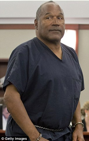A love connection?: OJ Simpson (pictured left in May 2013 in a Las Vegas courtroom) has a big crush on Kim Kardashian (pictured right on Tuesday in NYC), according to a Wednesday report from RadarOnline
