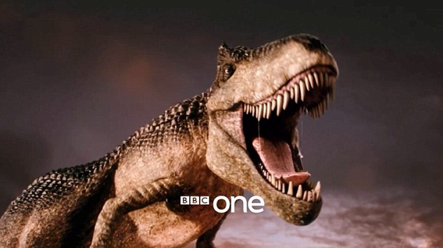 Blast from the past: As well as his fiery companion, the 12th incarnation of the Doctor has big trouble on his hands in the form of a T-Rex