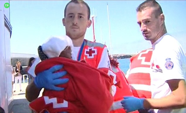 An seriously ill baby girl has been found alone wet and shaking on a tiny boat in the waters off Spain's south coast