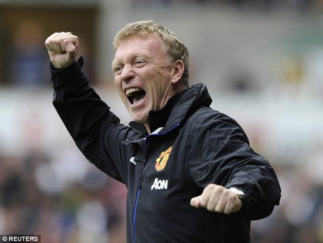 False dawn: David Moyes celebrates during United's 4-1 win at Swansea on the opening day last season