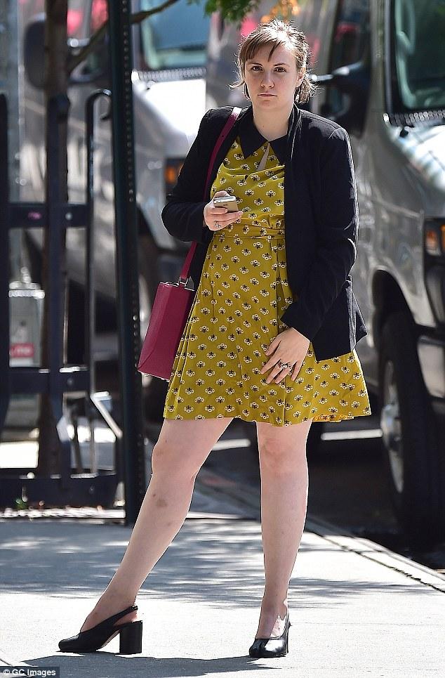 Working girl: Lena Dunham  is seen in Soho in New York City where she's filming her series