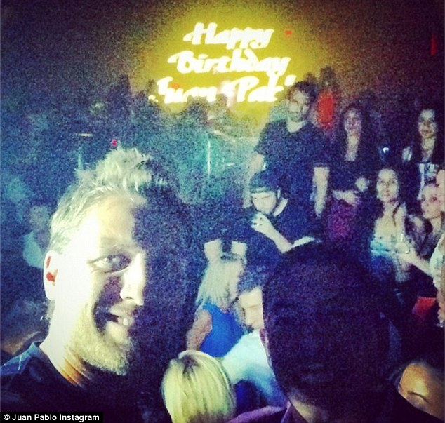Good times: Juan Pablo shared a photo of himself at his birthday party on Instagram