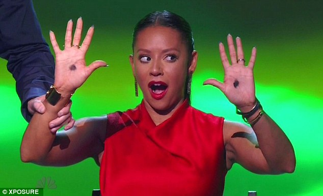 Reluctant participator: Mel B was coaxed into being a live Voodoo doll during a contestant's performance on America's Got Talent on Tuesday evening