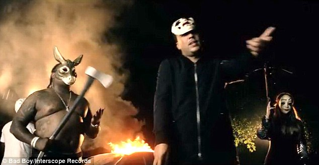 The crew: Khloé joined French and his pals in creating a scary scene and burning a car down