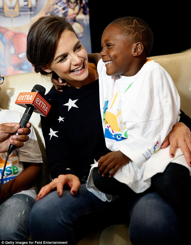 Caring: Katie bonded with cancer sufferers as she attended the Marvel Universe LIVE! NYC World Premiere on Wednesday