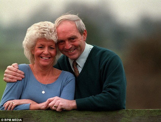 Jeff Astle is pictured with his wife Laraine in 1995. He later died of Chronic Traumatic Encephalopathy and a coroner ruled that the Alzheimer's-like illness was caused by his heading of heavy leather footballs