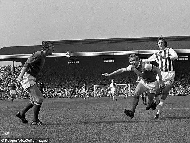 Jeff Astle, right, in action for West Bromwich Albion in 1970 against Arsenal. His family are the driving force behind Justice for Jeff, a campaign pressing for a foundation to help ex-players crippled by CTE