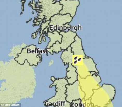 Alert: A yellow weather warning has been issued for a large part of central and eastern England with heavy rain forecast in the next 24 hours