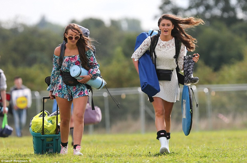 Warning: The Met Office has said the festival, which is being held at the site in Essex as well as Weston Park in Staffordshire, will be hit by rain and points over the next three days