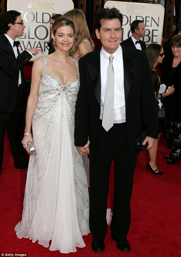 Back in the day: Denise and Charlie, pictured here at the Golden Globes in 2005, had a very hostile divorce