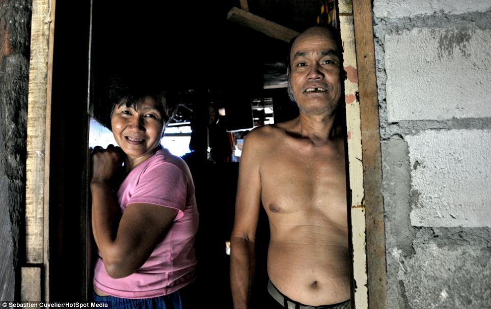 Mr Cuvelier visited around 30 homes to offer an insight into the reality of life for civilians living in the slums including the shack of this married couple