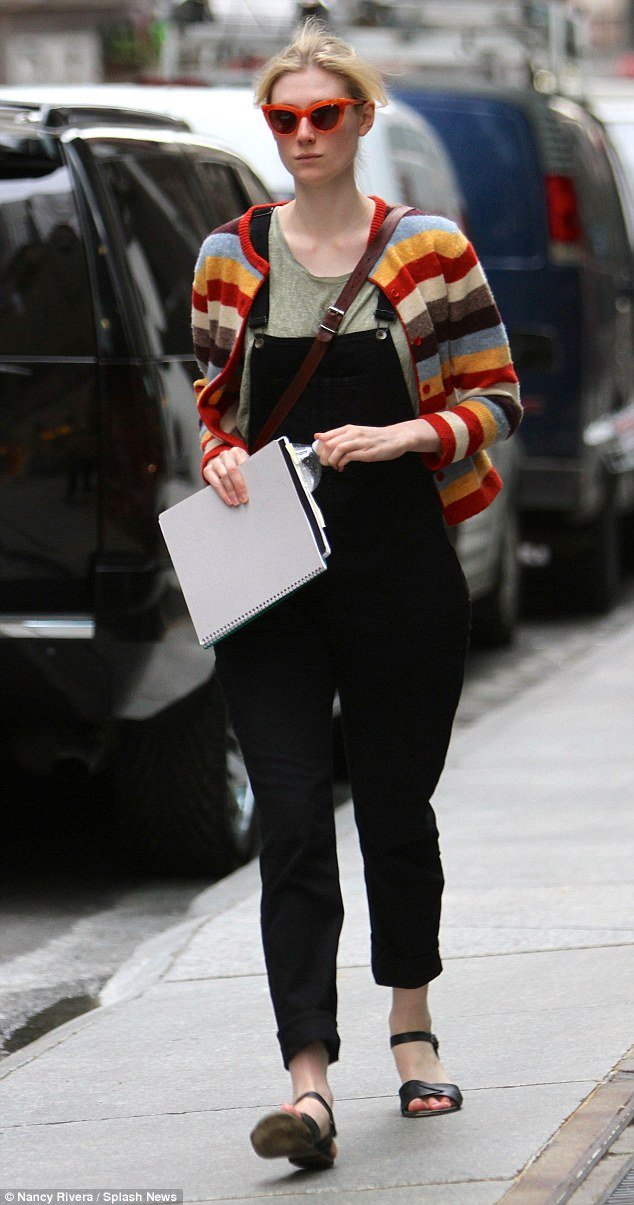 So many colours! ElizabethDebicki was spotted out and about in New York on Friday showing off her quirky style