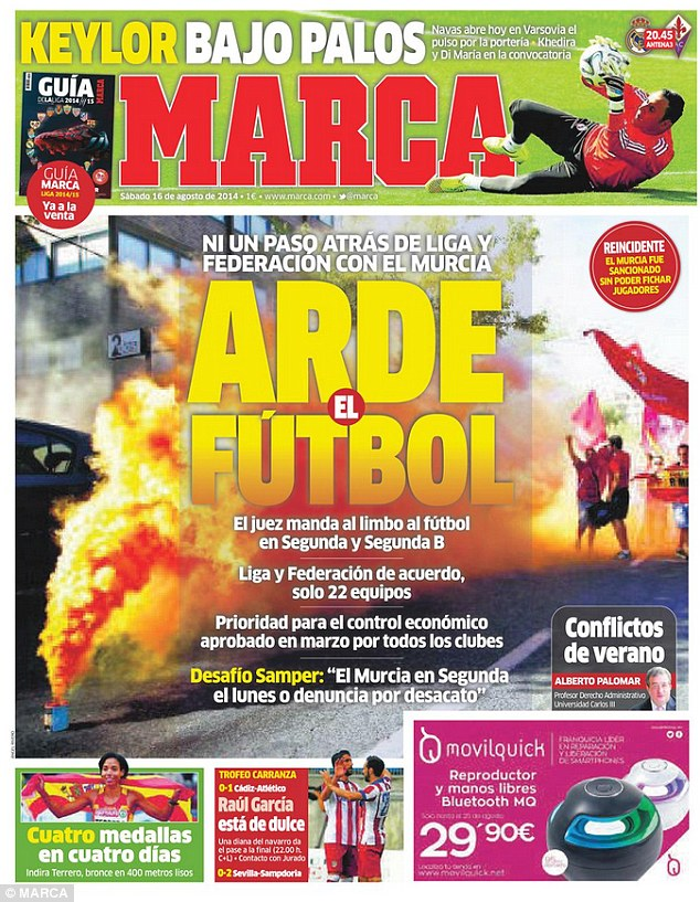 In turmoil: Marca reports on Real Murcia's financial dispute with the Spanish football federation