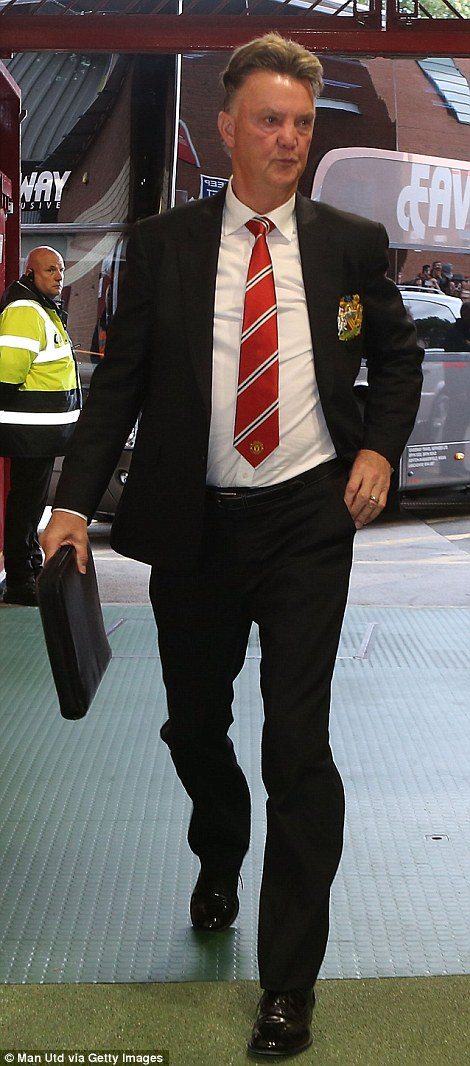 Here we go: Louis van Gaal arrives for his competitive match as Manchester United manager