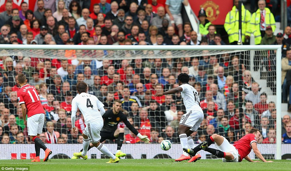 Not in the script:Ki Sung-yeung put Swansea in front with a well-taken strike from the edge of the box as United toiled for the first 45 minutes
