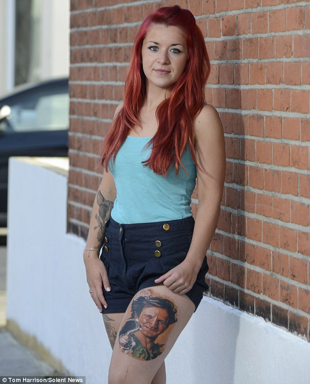 Tribute: Hayley Patterson, 23, has long planned to have Robin Williams's face tattooed onto her thigh, and made the decision the day after he died