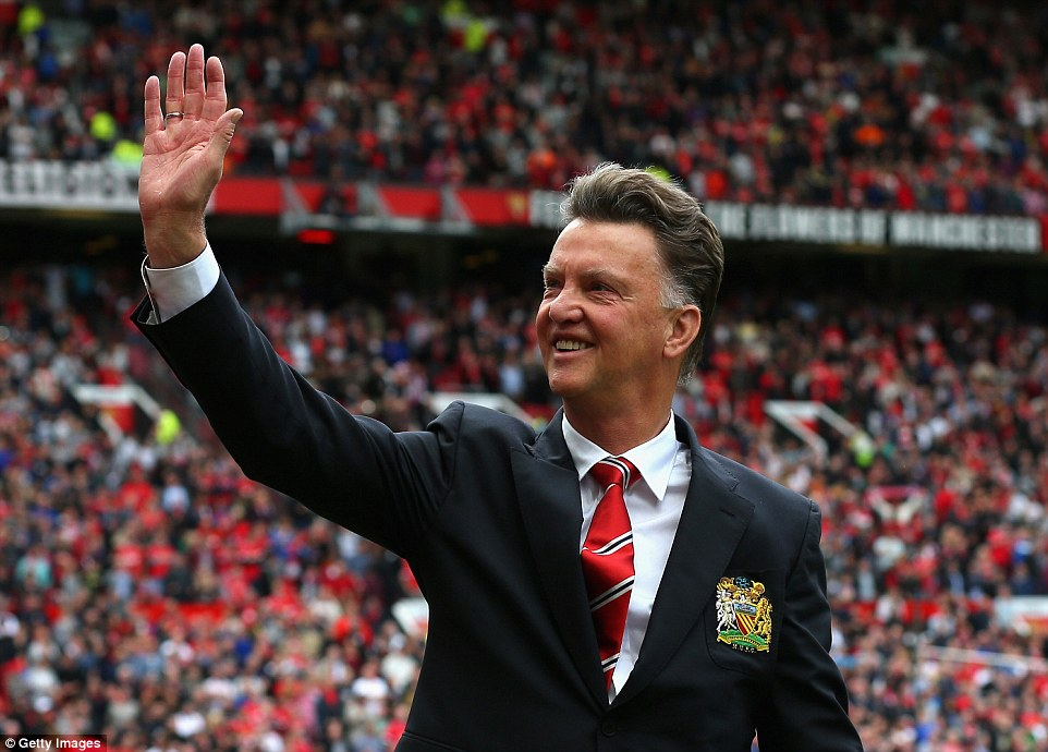 All smiles: Van Gaal was in high spirits before the match, but that quickly turned to despair as his United team were beaten at home by Swansea
