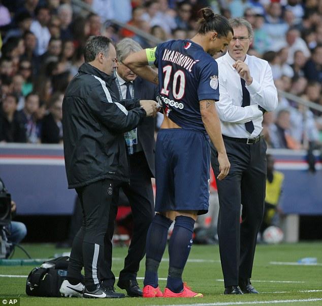 Injury setback: Zlatan Ibrahimovic picked up an abdominal injury in Paris-Saint Germain's win over Bastia