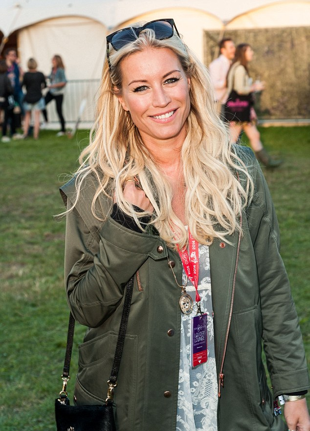 She'll need a Big Breakfast: Denise Van Outen opted for a camouflage coat as she made her way through the muddy fields